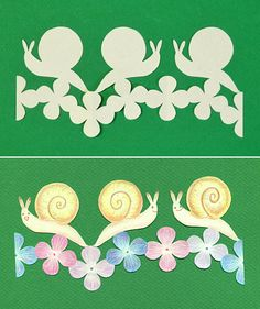 painted the kirigami (Cut paper) of the snail in a color with a colored pencil.