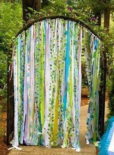 Items similar to Woodsy Garland Ribbon Curtain Fairygarden Faerie Unicorn Enchanted Forest Woodland Backdrop Aqua Lavender Purple Lime Green ~Boho Hippie on Etsy Woodsy Garland Rustic Fairy garden curtains created from vintage fabrics are. Fairy Birthday Party, Garden Birthday, Birthday Ideas, Decoration Creche, Fairy Decorations, Wedding Decorations, Enchanted Forest Party, Enchanted Garden, Enchanted Forest Decorations