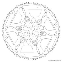 Baked with Love mandala to color