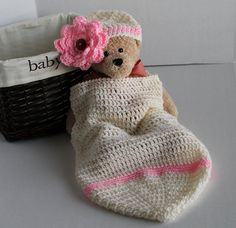 Crochet Baby Cacoon  Antique White and Pink by SnugableTouches, $25.00