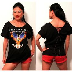 Journey Unique Cut Back Scoop Neck Top by Julia (handmade) Top Rock Bands, Band Shirts, Graphic Tees, Scoop Neck, Journey, Unisex, Best Deals, T Shirt, Handmade