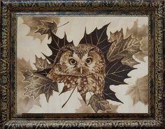 """30x40 cm - """"Owl in a maple syrup"""" pyrography (c) Lesina Elena"""