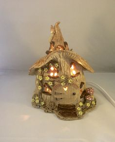 Nursery lamp, electric light, fairy house nursery lamp, kid's lighting.