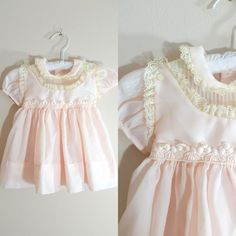 Vintage 1950s Pink Baby Dress / Lace and Frills Party Dress / 12 Months Shop at www.etsy.com/Shop/ThriftyVintageKitten