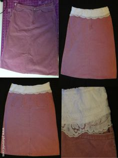 We will turn a too-small waistband into a cute comfy elastic waist and even make it look pretty by covering it with lace! Can be done to most jeans and skirts in any size!