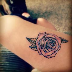 One of the best rose tattoos I've ever seen. It's pink and so sketchy. Just beautiful. I like that its not saturated with color.