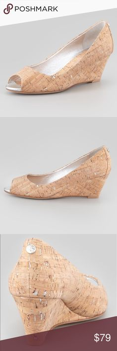 "Donald J Pliner Cork Open Toe Wedge Heel 6 New with out box. 2 1/4"" Heel.  Peep toe Generously padded Outside texture provided traction  ""Milli""  MSRP $228 Donald J Pliner Shoes Wedges"