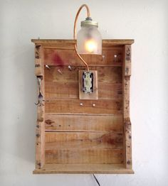 Reclaimed Wood Hanging Organizer w/ Light