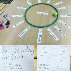 Wir haben uns heute in Deutsch mit dem Thema zusammengesetzte Nomen beschäftigt. Dafür haben wir zuerst im Sitzkreis zusammengesetzte Nomen gebildet… Mit dem drehenden Tennisball hat das natürlich viel mehr Spaß gemacht… an der Tafel haben wir einzelne Ergebnisse exemplarisch notiert. Danach haben die Kinder in Partnerarbeit gearbeitet. Es hat super funktioniert die Idee hatte ich mal irgendwo auf #pinterest gesehen, die Bilder sind von #katehadfield ⭐️⭐️ #deutsch #deutschunterricht #n...