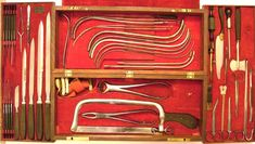 Instrument in this Kolbe Civil War surgical set marked U.S.A. Hosp. Dept.