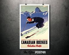 1950s Canadian Rockies via Canadian Pacific - Artist Peter Ewart - Vintage Travel Poster // High Quality Fine Art Reproduction Giclée Print by TheRetroPoster on Etsy