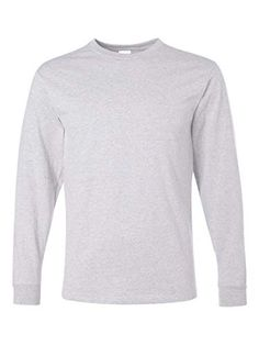 Jerzees Men's Heavyweight Blend Long Sleeve T-Shirt (Ash, X-Large) cotton, polyester preshrunk jersey shoulder-to-shoulder tape double-needle stitched seamless body for a wide printing area ribbed collar Online Shopping Clothes, V Neck Tee, American Apparel, 50th, Long Sleeve Shirts, Sleeves, Cotton, T Shirt, Loom