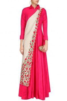 Rishi & Soujit Fuschia Pink Collared Tunic with Off White Banarasi Floral Motifs Sash #Rishi&Soujit#ethnic#shopnow #ppus #happyshopping