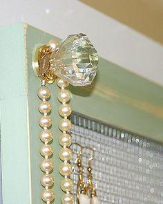 Jewelry Holder Storage Organizer Crystal Knobs Jewelry Holder Large Vintage Pale Jade Framed Jewelry Organizer on Etsy, $42.00