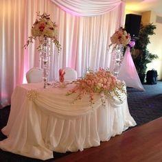 Wedding Reception Backdrop, Wedding Stage Decorations, Wedding Centerpieces, Bridal Table, Wedding Table, Wedding Designs, Wedding Styles, Pearl Bridal Shower, Bride Groom Table