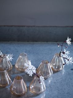 Eight Lustre Bud Vases