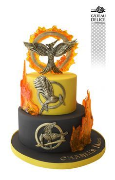 Hunger games - cake by Marie-Josée Hunger Games Cake, Hunger Games Party, Hunger Games Memes, The Hunger Games, Hunger Games Fandom, Hunger Games Trilogy, Hunger Games Decorations, Beautiful Cakes, Amazing Cakes