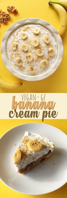 Caramelized bananas smothered in creamy homemade vegan pudding sit atop a nutty walnut crust (GF) in this delicious banana cream pie. A thick layer of coconut whip cream tops off this delectable summer dessert!