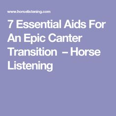 7 Essential Aids For An Epic Canter Transition – Horse Listening