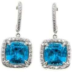 Preowned Blue Zircon Diamond Platinum Earrings ($7,500) ❤ liked on Polyvore featuring jewelry, earrings, blue, dangle earrings, blue dangle earrings, blue earrings, platinum earrings, diamond jewelry and blue diamond jewelry