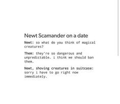 Me: hey mr Scamander! *Newt turns around*  Me: did you say magical creatures? Newt: ye- Me: I love you!