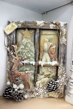 Christmas Window weihnachten wohnzimmer 31 Indoor Woodworking Projects to Do This Winter Christmas Shadow Boxes, Christmas Frames, Primitive Christmas, Rustic Christmas, Christmas Art, Christmas Projects, Handmade Christmas, Christmas Holidays, Christmas Wreaths
