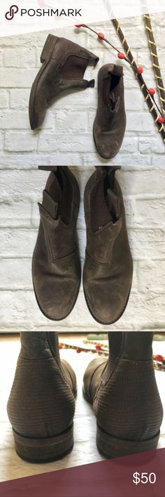 """Ksubi Distressed Leather Brown Ankle Boots Great condition Ksubi ankle boots in brown distressed leather. Elastic panels in sides. 5"""" tall, 1"""" heel. Light wear on sole. Leather upper and sole. Made in Portugal. Marked EU 39. I wear 8.5 and they fit me. Ksubi Shoes Ankle Boots & Booties"""