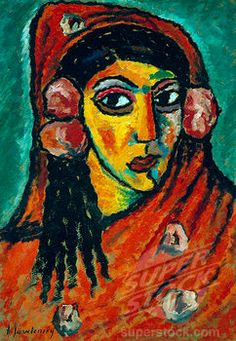 SuperStock - Spaniard with a Red Scarf c. 1912 Alexej von Jawlensky (1867-1941/Russian)