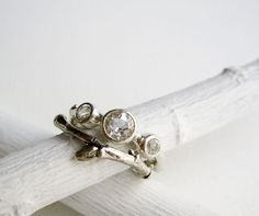 Engagement Rings Silver Twig Rings with 3 white by EveryBearJewel, $163.00