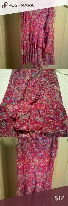 CHAPS Magenta Paisley Asymmetric Ruffle Skirt L CHAPS by Ralph Lauren 100% polyester.  Machine wash cold, gentle cycle   Pre-owned magenta paisley print ruffle skirt with asymmetrical hem. Chaps Skirts Asymmetrical