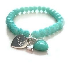 Personalised bracelet #aqua #charm #jewellery #thepersonalisedgiftshop £21.99