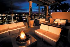 At The Ritz-Carlton, Marina del Rey, unwind fireside on the jer-ne terrace while enjoying in breathtaking marina views.#treasuredtravel