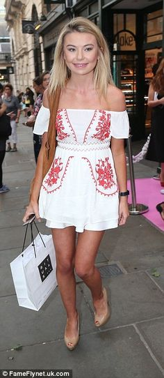 Pretty as a picture: Made In Chelsea's Georgia 'Toff' Toffolo donned a chic Bardot number with red embroidery, which she teamed with nude peep-toe heels Made In Chelsea, Heels Outfits, Skin Tight, Beautiful Legs, Pretty Dresses, Summer Outfits, White Dress, Celebrities, Georgia