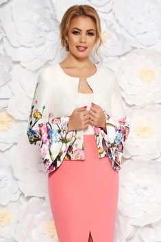 StarShinerS white elegant flared jacket from satin fabric texture with bell sleeve, straight cut, floral prints, bell sleeve, satin fabric texture