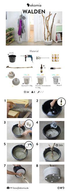Bauanleitung für DIY Garderobe zum selber machen aus einem Ast und Betonfuß.