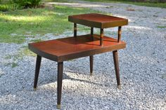 Mid Century End Table Wood and Formica Vintage by PanchosPorch