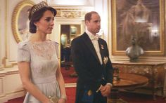 duchesskate:  from the documentary 'The Queen at 90', airing March 27, 2016 in the UK-a scene from the special showing the Duke and Duchess of Cambridge at the Diplomatic Reception in December 2015; the Duchess is shown wearing a bespoke Alexander McQueen lacy light blue gown along with the Cambridge Lover's Knot Tiara and diamond chandelier earrings and diamond bracelets.