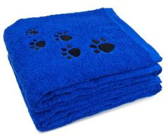 2 Pack cat Bath Towel 100% Cotton Paw Print Embroidered Dog and Cat *** Find out more details by clicking the image : Cat Grooming
