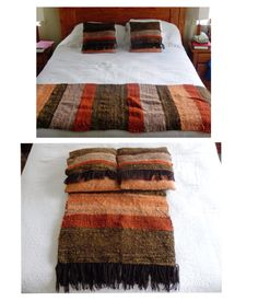 Piecera y cojínes a telar María #entrelanaypalilos Loom Weaving, Hand Weaving, Designer Bed Sheets, Cover Style, Silk Ribbon Embroidery, Rug Hooking, Bed Covers, Floor Rugs, Surface Design