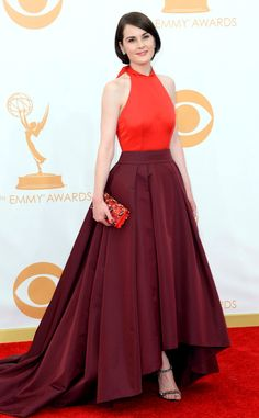 Michelle Dockery from 2013 Emmys: Red Carpet Arrivals | E! Online. color blocking.  hot new trend for fall.