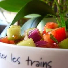 Tomato, Cucumber and Red Onion Salad with Mint.  Replace the 'white sugar' with Stevia for a sugar free alternative.