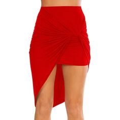 Simlu Womens Drape Up Stretchy Asymmetrical High Low Short Mini... ❤ liked on Polyvore featuring skirts, mini skirts, mini pencil skirt, red bodycon skirt, pencil skirt, red pencil skirt and hi lo skirt