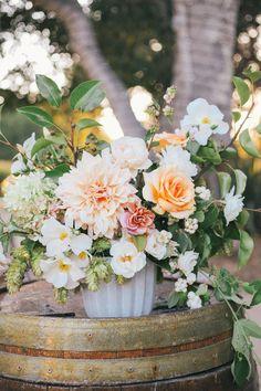 Peach dahlia arrangement | Wedding & Party Ideas | 100 Layer Cake