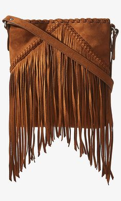 Faux Suede Fringe Cross Body Bag | Express