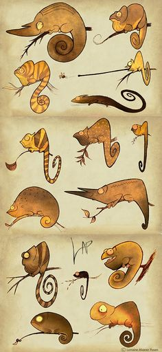 chameleons - concept art - creature design - Art of Lorraine Alvarez Posen