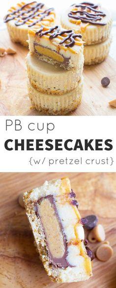 Peanut Butter Cup Mini Cheesecakes on a Pretzel Crust @Denise | Sweet Peas & Saffron