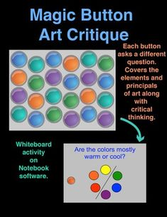 Magic Button Art Critique!! In this activity, students will click on a button and a question about the artwork will appear. There are 27 buttons and 27 different questions. This is an Interactive Whiteboard activity on Notebook software.