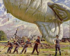 """A Balloon Site, Coventry,"" Laura Knight, 1943  Women's Auxiliary Air Force personnel raise a barrage balloon, used to deter approaching attackers pursuing low flight paths. Knight, the painter, later served as the official artist at the Nuremberg trials."