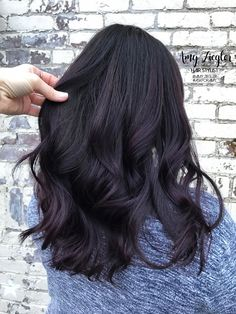 Deep dark brunette eggplant color by @amy_ziegler #brunettehairstyleideas