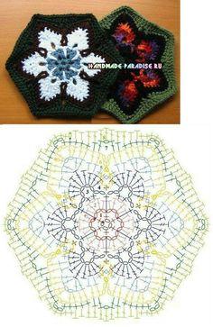 Schemes motifs for knitting crochet blankets Granny Square Crochet Pattern, Crochet Flower Patterns, Crochet Mandala, Crochet Diagram, Crochet Stitches Patterns, Crochet Chart, Crochet Squares, Granny Squares, Crochet Snowflakes